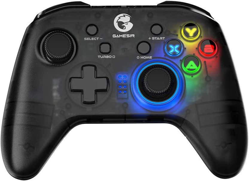 GameSir T4 pro Wireless Bluetooth Game Controller for Windows 7 8 10 PC/iOS/Android/Switch, Rechargeable Dual Shock USB Gamepad Joystick for Apple Arcade MFi Games, Semi-Transparent LED Backlight
