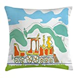 Ambesonne Steam Engine Throw Pillow Cushion Cover, Colorful Small Old Train Country Retro Kids Art Vintage Cartoon Print, Decorative Square Accent Pillow Case, 28 X 28 inches, Green Blue Orange