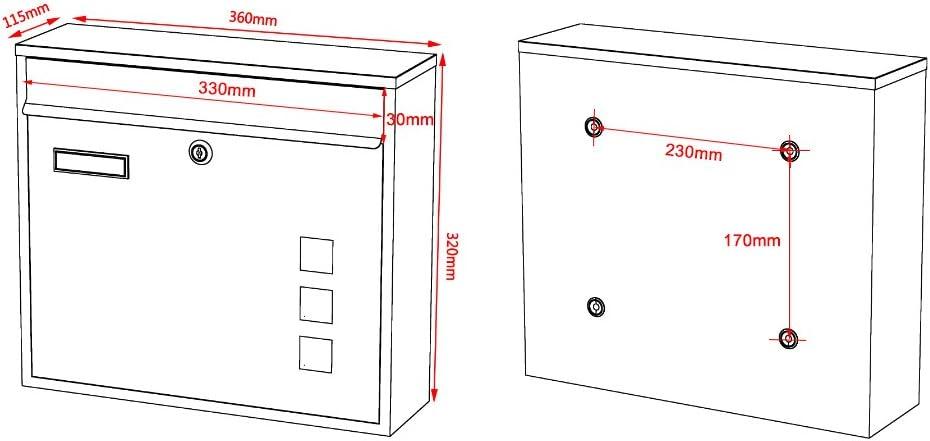 Briefkasten Postkasten Design Schwarz pulverbeschichtet Wandbriefkasten Mailbox V12