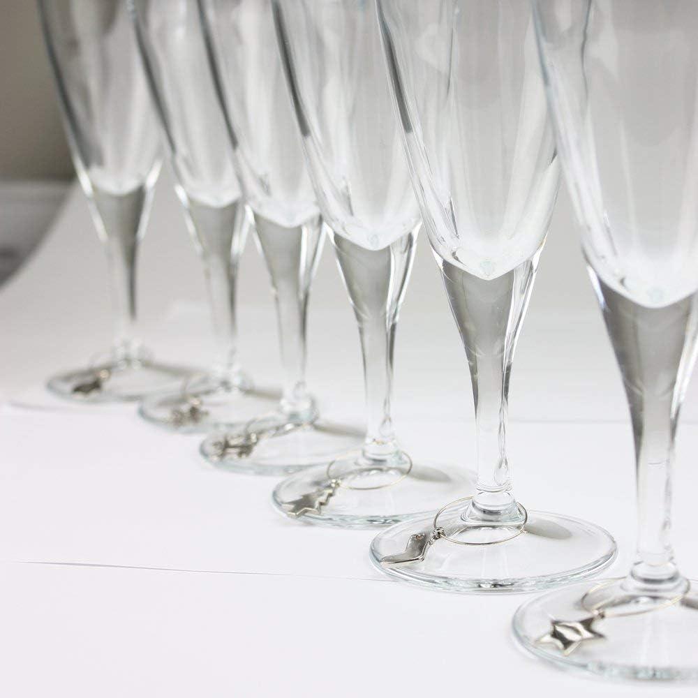 Coque en Silicone Couleurs Assorties eBuyGB Lot de 12/Verre /à vin Identificateur Charms