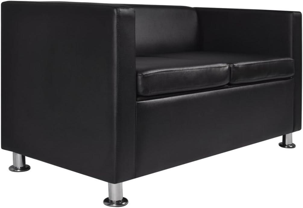 vidaXL Canap/é Chesterfield 2 Places Similicuir Blanc Salle de S/éjour Salon Sofa