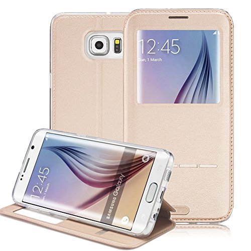 Galaxy S7 Case, G-CASE® [Sense II] Smart Unlock Smart Touch Metal Answer Calls Folio Flip PU Leather Wallet Pouch Case with Stand for Samsung Galaxy S7 (2016) (Sense II Gold) (Mobile Flip Unlock compare prices)