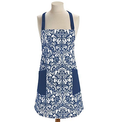 100% Cotton Machine Washable Kitchen Apron Cooking Apron Baking Apron with 2 Pockets (Navy Blue)