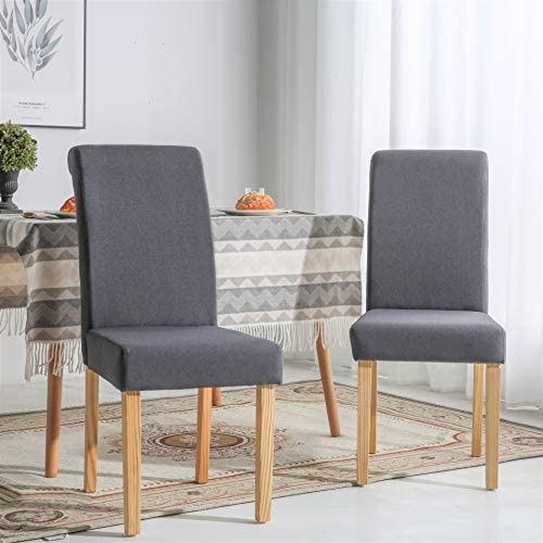 The Home Garden Store Chelsea Linen Fabric Dining Living Room Chairs Scroll High Back Dark Grey
