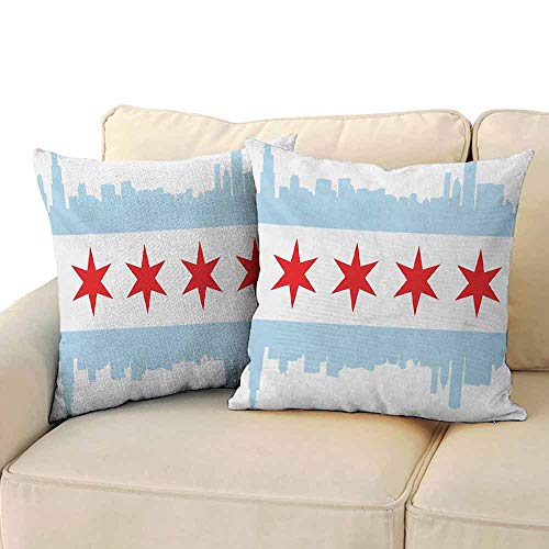 FCIEBP Chicago Skyline Pillowcase Throw Pillow Covers Trees City of Chicago Flag with High Rise Buildings Scenery National W16xL16 Red White Baby Blue