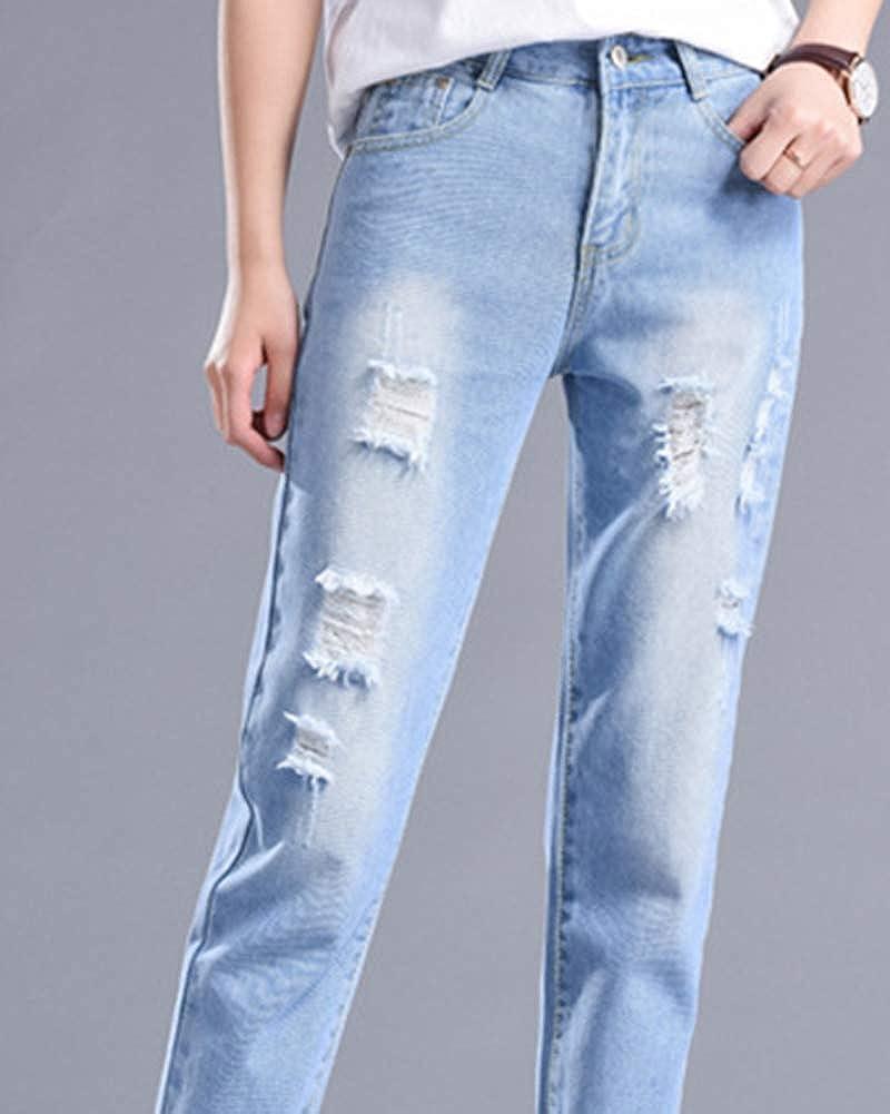 Vaqueros Mujer Mujer Cintura Alta Pantalones Suelto Jeans De Mujer Jeans Rotos Vaqueros