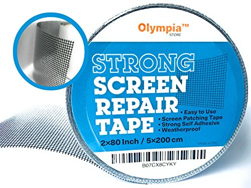 Olympia Store Screen Repair Kit, Best Fix for Tears and Holes, Durable and Waterproof Window and Door Screen Mend Patch, High Strength Adhesive Anti Mosquito Net Tape, Fiberglass Pattern, 2x80 Inches