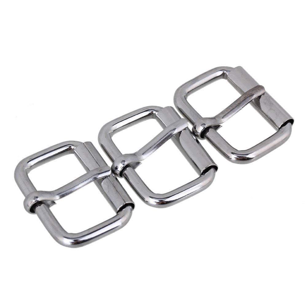 10pcs Single Prong Heavy Duty Nickel Roller Buckle Square Belt Buckle (20mm) Diystyle