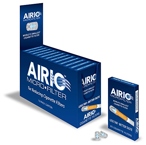 AIRIO Micro Filter Tar Reducing Cigarette Filters, 12-Pack Carton (240 Total Count) by AIRIO