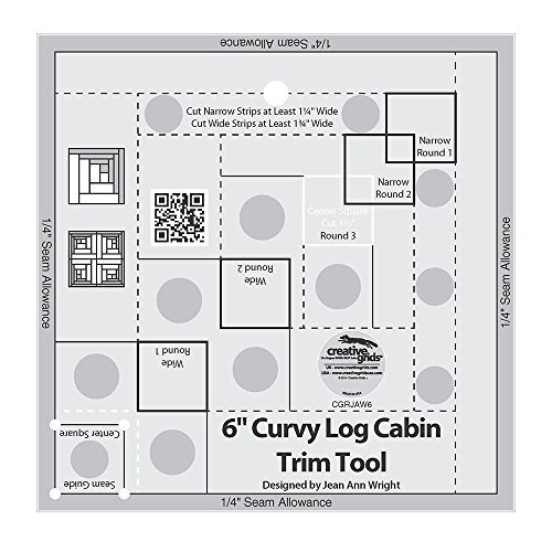 - Creative Grids Curvy Log Cabin Trim Tool Quilting Ruler Template for 6