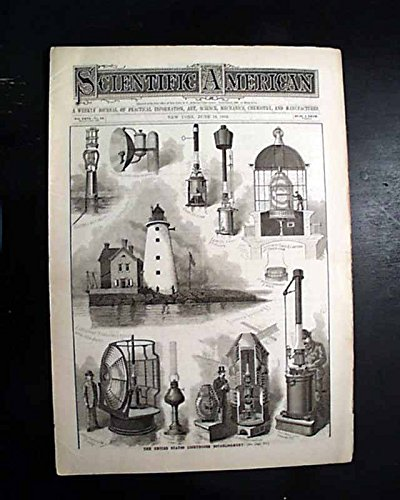 Lighthouse Historic Lamp (United States LIGHTHOUSES Early American Lamps PRINTS Illustration 1892 Magazine SCIENTIFIC AMERICAN, New York, June 11, 1892)