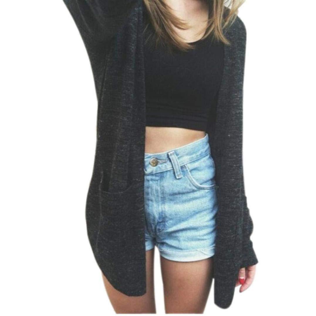Bovake Womens Long Sleeve Knit Cardigan Plus Size, Ladies Casual Loose Boyfriend Sweater Outwear Open Front Top Jacket Coat