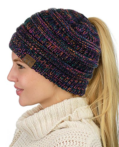 (C.C BeanieTail Soft Stretch Cable Knit Messy High Bun Ponytail Beanie Hat, Black/Multi)