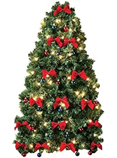 small prelit christmas tree for wall electric corded white lights colored ornaments and red bows - Small Pre Decorated Christmas Trees
