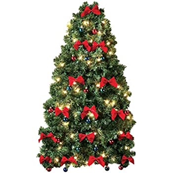 Perfect Small Prelit Christmas Tree For Wall Electric Corded White Lights, Colored  Ornaments And Red Bows