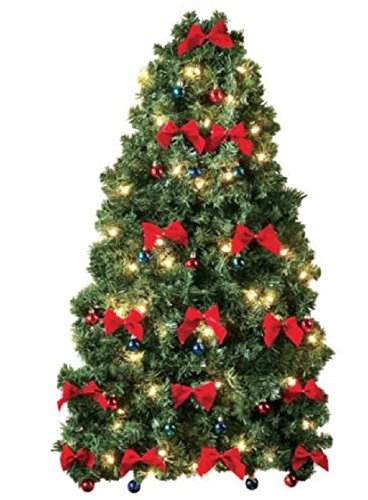 small prelit christmas tree for wall electric corded white lights colored ornaments and red bows - Christmas Tree With White Lights And Red Decorations