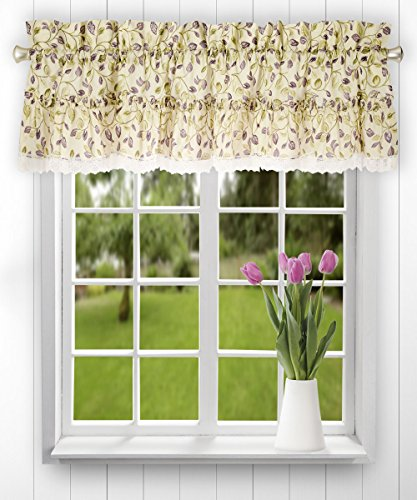 Ellis Curtain Clarice 52-by-12 Inch Ruffled Valance, Violet (Polyester Tiers Valance)