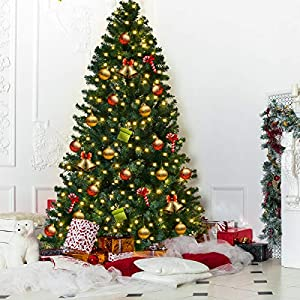 Goplus 8FT Pre-Lit PVC Artificial Christmas Tree Auto-Spread/Close up Premium Spruce Hinged w/LED Lights & Metal Stand, Green 2