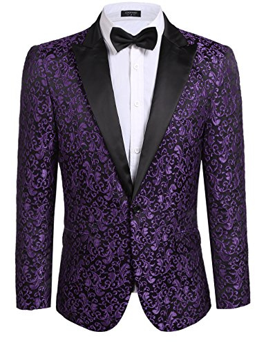 COOFANDY Men's Floral Party Dress Suit Stylish Dinner Jacket Wedding Blazer One Button Tuxdeo,Purple,US S(Chest 42.9) ()