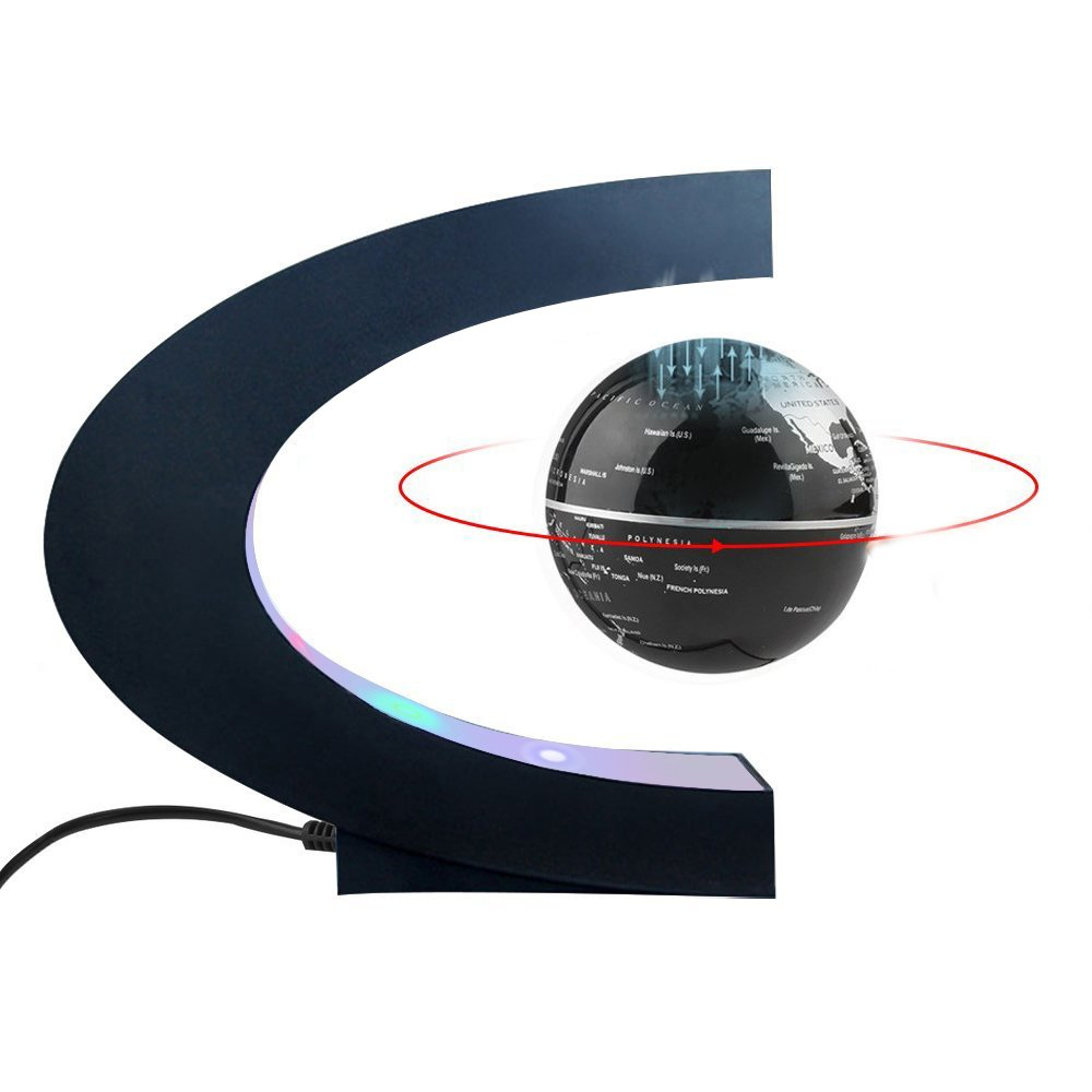 Magnetic Levitation Floating World Map Globe C Shape Base, 3'' Rotating Planet Earth Globe Ball Anti Gravity with LED Light Lamp- Educational Gifts for Kids, Home Office Desk Decoration (Black+Silver)