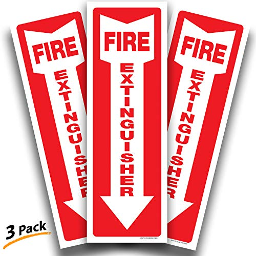 Fire Extinguisher Signs Stickers - 3 Pack 4x12 Inch - Premium Self-Adhesive Vinyl Decal, Laminated for Ultimate UV, Weather, Scratch, Water & Fade Resistance, Indoor & Outdoor
