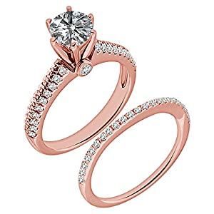 1.53 Carat G-H I2-I3 Diamond Engagement Wedding Anniversary Halo Bridal Ring Set 14K Rose Gold