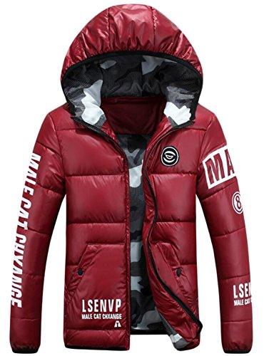 EKU Men's Athletic Warm Coat Winter Hooded Down Jackets Wine Red US L