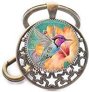Holiday gift Hummingbird Keychain Hummingbird Key Ring Bird Jewelry Glass Photo cabochon Keychain.HTY-078