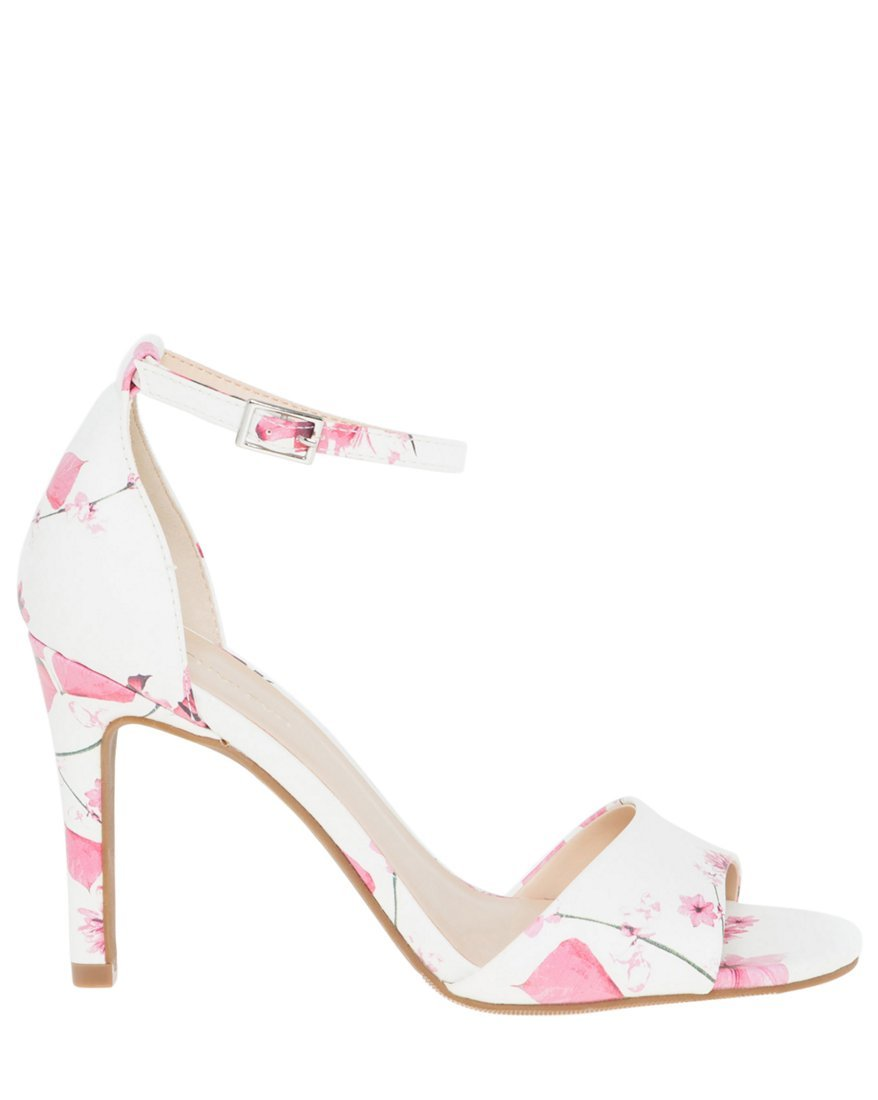 LE CHÂTEAU Women's Floral Leather-Like Ankle Strap Sandal,10,Multi-Coloured