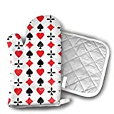 Hdy7sgd4 Poker Cards Red Black Heart.jpg Oven Mitts - Heat Resistant to 500¡« F,1 Pair of Non-Slip Kitchen Oven Gloves for Cooking,Baking,Grilling,Barbecue Potholders