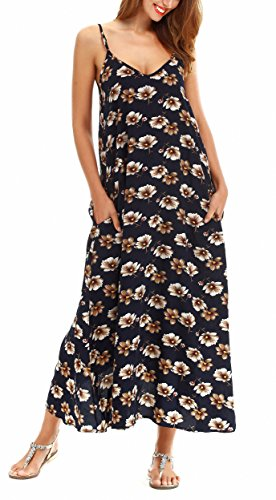 (LILBETTER Women V-Neck Polka Dot Print Spaghetti Strap Boho Long Maxi Dresses (XL, Navy Blue Flower))