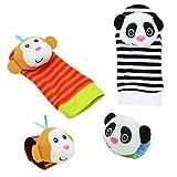 Panda Monkey Wrist Rattle Socks Toys Foot Finder Set 4 in 1 Baby Infant Soft Animal Toys Developmental Soft Toys