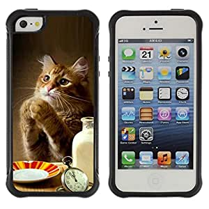 "Pulsar iFace Series Tpu silicona Carcasa Funda Case para Apple iPhone SE / iPhone 5 / iPhone 5S , Gato del jengibre lindo Leche patas divertido Tabla de Alimentos"""