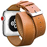 For Apple Watch Band 38mm Marge Plus Genuine Leather Double Tour iwatch Strap Replacement Band with Stainless Metal Clasp for Apple Watch Series 3 Series 2 Series 1 Sport and Edition Brown