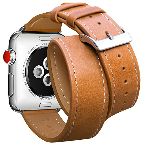 Price comparison product image For Apple Watch Band 38mm, Marge Plus Genuine Leather Double Tour iwatch Strap Replacement Band with Stainless Metal Clasp for Apple Watch Series 3 Series 2 Series 1 Sport and Edition, Brown