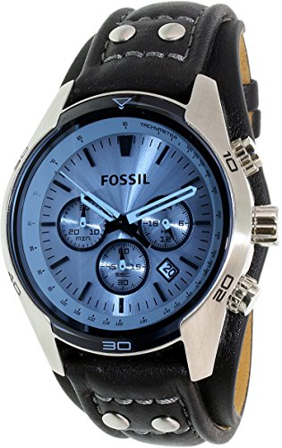 Fossil Men's CH2564 Blue Glass Silver Watch With Black Leather - Fossil Glasses Mens