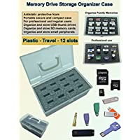 Tech Store On MDOB001 Memory Thumb Flash USB Drive and Accessories Organizer Storage Case Box, Plastic, Travel, 12 Slots with Antistatic Foam
