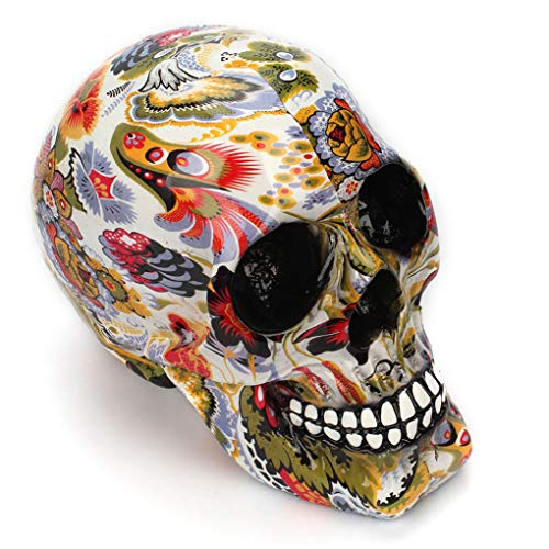 XOBULLO Creative Colorful Pattern Modern Skull Statue Ornaments Resin Halloween Horror Personality Home Decoration