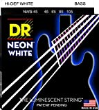 DR Strings NWB-45 DR NEON 4 Bass Guitar String, Medium, White