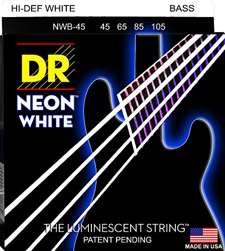 DR Strings NWB-45 DR NEON 4 Bass Guitar String, Medium, White