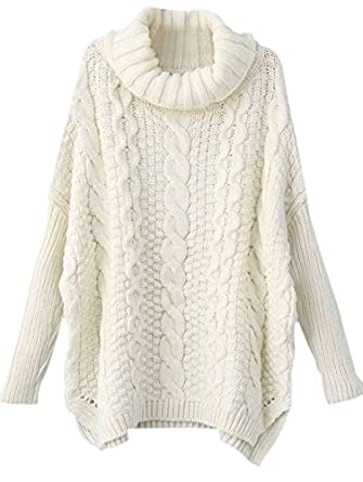SheIn Women's Turtleneck Chunky Cable Knit Long Sleeve Sweater One ...