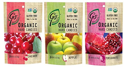 GoOrganic Gluten Free Organic Hard Candies 3 Flavor Variety Bundle: (1) Go Organic Cherry Hard Candies, (1) Go Organic Apple Hard Candies, and (1) Go Organic Pomegranate Hard Candies, 3.5 Oz. Ea. (3 Bags (Apple Organic Candy)