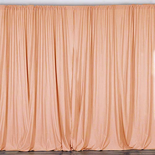 AK TRADING CO. 10 feet x 10 feet Polyester Backdrop Drapes Curtains Panels with Rod Pockets - Wedding Ceremony Party Home Window Decorations - Peach