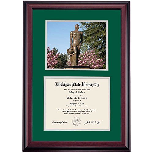 Campus Linens Michigan State Spartans Diploma Frame Green Gray Matting Photograph