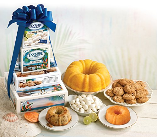 Bakery Gift Tower (Dockside Market Direct From The Florida Keys Tropical Tower. A Gift Including Key Lime and Banana & Rum Cakes, Coconut & KeyLime Cookies All Wrapped Up With A Bow)