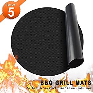 LauKingdom BBQ Grill Mat/Accessories Non-Stick , Reusable and Heat Resistant
