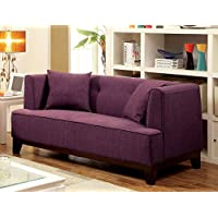 Furniture of America Elsa Neo-Retro Love Seat, Purple