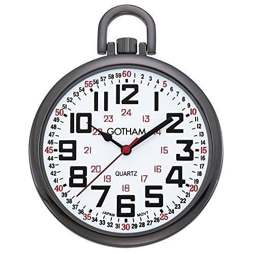 (Gotham Men's Gun-Tone Slim Railroad 24 Hour Open Face Quartz Pocket Watch # GWC15029B)
