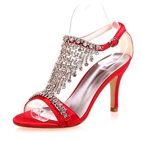 9920 L La amp; Noche Zapatos 06a yc Plataforma Confort Tarde Peep Cristal Toe De Novedad Mujer Novia Red 6nnPZUW