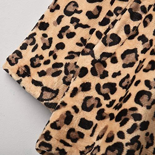 Vectry Marrón Actividad Abrigo Y Para Estampado Leopardo Mujer Estiloso Peluche Sintético Del Fiesta Ocio De O8wX0nPk